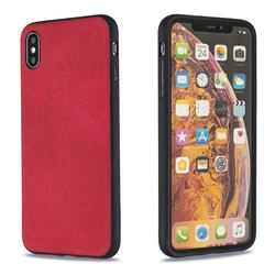 Canvas Cloth Coated Soft Phone Cover for iPhone XS Max (6.5 inch) - Red