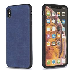 Canvas Cloth Coated Soft Phone Cover for iPhone XS Max (6.5 inch) - Blue