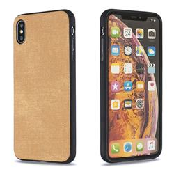 Canvas Cloth Coated Soft Phone Cover for iPhone XS Max (6.5 inch) - Brown