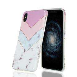 Stitching Pink Marble Clear Bumper Glossy Rubber Silicone Phone Case for iPhone XS Max (6.5 inch)