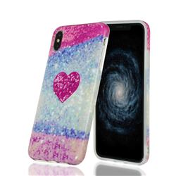 Glitter Rose Heart Marble Clear Bumper Glossy Rubber Silicone Phone Case for iPhone XS Max (6.5 inch)