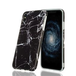 Black Stone Marble Clear Bumper Glossy Rubber Silicone Phone Case for iPhone XS Max (6.5 inch)