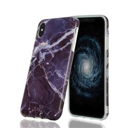 Gray Stone Marble Clear Bumper Glossy Rubber Silicone Phone Case for iPhone XS Max (6.5 inch)
