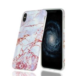 White Stone Marble Clear Bumper Glossy Rubber Silicone Phone Case for iPhone XS Max (6.5 inch)