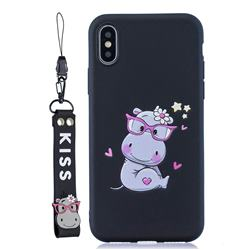 Black Flower Hippo Soft Kiss Candy Hand Strap Silicone Case for iPhone XS Max (6.5 inch)