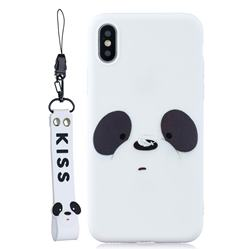 White Feather Panda Soft Kiss Candy Hand Strap Silicone Case for iPhone XS Max (6.5 inch)