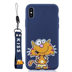 Blue Cute Cat Soft Kiss Candy Hand Strap Silicone Case for iPhone XS Max (6.5 inch)