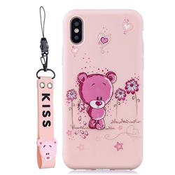 Pink Flower Bear Soft Kiss Candy Hand Strap Silicone Case for iPhone XS Max (6.5 inch)