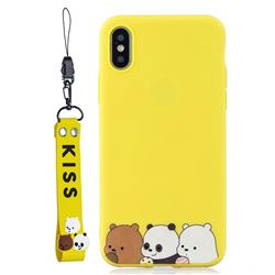 Yellow Bear Family Soft Kiss Candy Hand Strap Silicone Case for iPhone XS Max (6.5 inch)