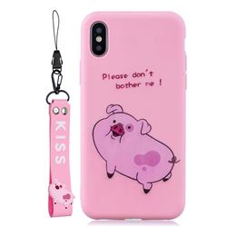Pink Cute Pig Soft Kiss Candy Hand Strap Silicone Case for iPhone XS Max (6.5 inch)