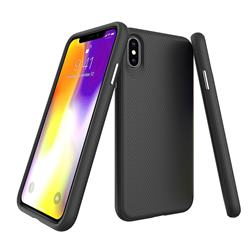 Triangle Texture Shockproof Hybrid Rugged Armor Defender Phone Case for iPhone XS Max (6.5 inch) - Black