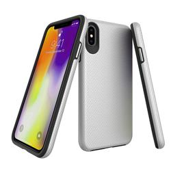 Triangle Texture Shockproof Hybrid Rugged Armor Defender Phone Case for iPhone XS Max (6.5 inch) - Silver