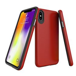 Triangle Texture Shockproof Hybrid Rugged Armor Defender Phone Case for iPhone XS Max (6.5 inch) - Red