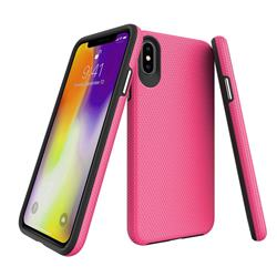 Triangle Texture Shockproof Hybrid Rugged Armor Defender Phone Case for iPhone XS Max (6.5 inch) - Rose