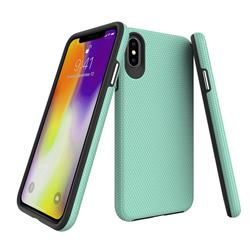 Triangle Texture Shockproof Hybrid Rugged Armor Defender Phone Case for iPhone XS Max (6.5 inch) - Mint Green