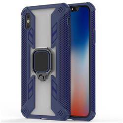 Predator Armor Metal Ring Grip Shockproof Dual Layer Rugged Hard Cover for iPhone XS Max (6.5 inch) - Blue