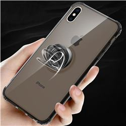 Anti-fall Invisible Press Bounce Ring Holder Phone Cover for iPhone XS Max (6.5 inch) - Elegant Black