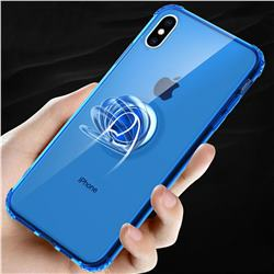 Anti-fall Invisible Press Bounce Ring Holder Phone Cover for iPhone XS Max (6.5 inch) - Sapphire Blue