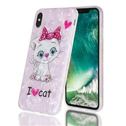 I Love Cat Shell Pattern Clear Bumper Glossy Rubber Silicone Phone Case for iPhone XS Max (6.5 inch)