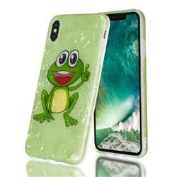 Smile Frog Shell Pattern Clear Bumper Glossy Rubber Silicone Phone Case for iPhone XS Max (6.5 inch)
