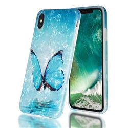 Sea Blue Butterfly Shell Pattern Clear Bumper Glossy Rubber Silicone Phone Case for iPhone XS Max (6.5 inch)