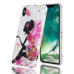 Flower Butterfly Girl Shell Pattern Clear Bumper Glossy Rubber Silicone Phone Case for iPhone XS Max (6.5 inch)