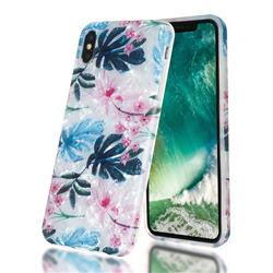 Flowers and Leaves Shell Pattern Clear Bumper Glossy Rubber Silicone Phone Case for iPhone XS Max (6.5 inch)