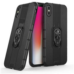 Alita Battle Angel Armor Metal Ring Grip Shockproof Dual Layer Rugged Hard Cover for iPhone XS Max (6.5 inch) - Black