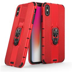 Alita Battle Angel Armor Metal Ring Grip Shockproof Dual Layer Rugged Hard Cover for iPhone XS Max (6.5 inch) - Red
