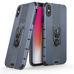 Alita Battle Angel Armor Metal Ring Grip Shockproof Dual Layer Rugged Hard Cover for iPhone XS Max (6.5 inch) - Blue