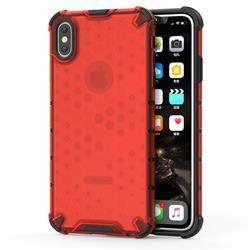 Honeycomb TPU + PC Hybrid Armor Shockproof Case Cover for iPhone XS Max (6.5 inch) - Red