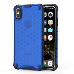 Honeycomb TPU + PC Hybrid Armor Shockproof Case Cover for iPhone XS Max (6.5 inch) - Blue