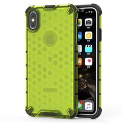 Honeycomb TPU + PC Hybrid Armor Shockproof Case Cover for iPhone XS Max (6.5 inch) - Green