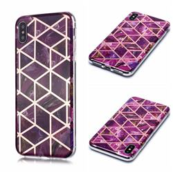 Purple Rhombus Galvanized Rose Gold Marble Phone Back Cover for iPhone XS Max (6.5 inch)