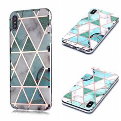Green White Galvanized Rose Gold Marble Phone Back Cover for iPhone XS Max (6.5 inch)