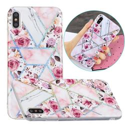 Rose Flower Painted Galvanized Electroplating Soft Phone Case Cover for iPhone XS Max (6.5 inch)
