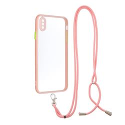 Necklace Cross-body Lanyard Strap Cord Phone Case Cover for iPhone XS Max (6.5 inch) - Pink