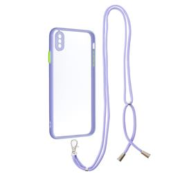 Necklace Cross-body Lanyard Strap Cord Phone Case Cover for iPhone XS Max (6.5 inch) - Purple