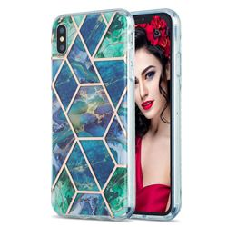 Blue Green Marble Pattern Galvanized Electroplating Protective Case Cover for iPhone XS Max (6.5 inch)