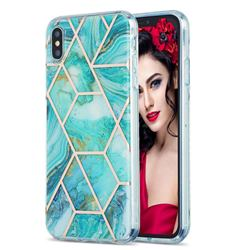 Blue Sea Marble Pattern Galvanized Electroplating Protective Case Cover for iPhone XS Max (6.5 inch)