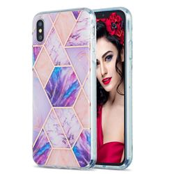 Purple Dream Marble Pattern Galvanized Electroplating Protective Case Cover for iPhone XS Max (6.5 inch)