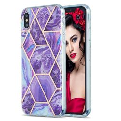 Purple Gagic Marble Pattern Galvanized Electroplating Protective Case Cover for iPhone XS Max (6.5 inch)