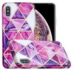 Purple Dream Triangle Painted Marble Electroplating Protective Case for iPhone XS Max (6.5 inch)