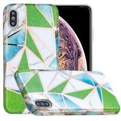 Green Triangle Painted Marble Electroplating Protective Case for iPhone XS Max (6.5 inch)