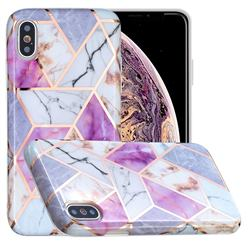 Purple and White Painted Marble Electroplating Protective Case for iPhone XS Max (6.5 inch)