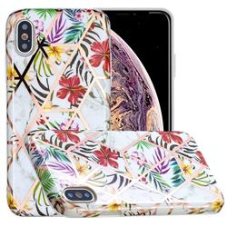 Tropical Rainforest Flower Painted Marble Electroplating Protective Case for iPhone XS Max (6.5 inch)