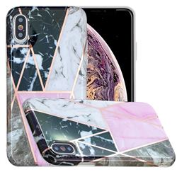 Pink and Black Painted Marble Electroplating Protective Case for iPhone XS Max (6.5 inch)