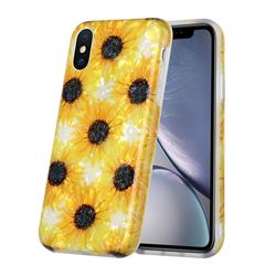 Yellow Sunflowers Shell Pattern Glossy Rubber Silicone Protective Case Cover for iPhone XS Max (6.5 inch)