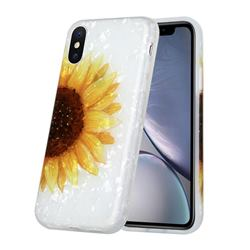 Face Sunflower Shell Pattern Glossy Rubber Silicone Protective Case Cover for iPhone XS Max (6.5 inch)
