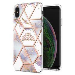 Crown Purple Flower Marble Electroplating Protective Case Cover for iPhone XS Max (6.5 inch)